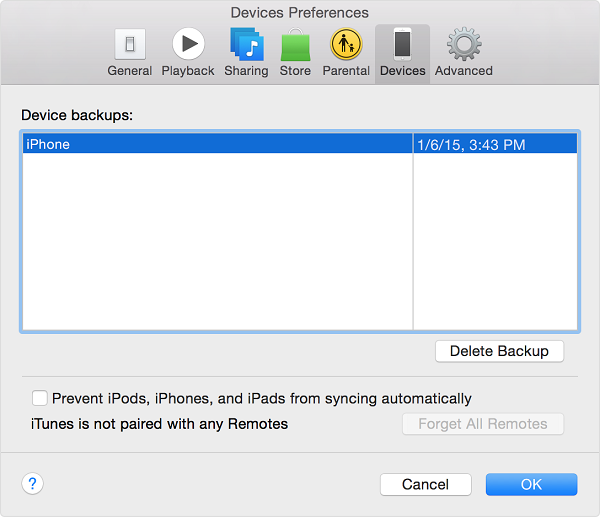 device preferences for iphone backup