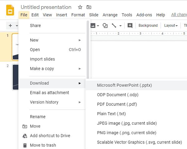 將 Google Slides 轉換成 PowerPoint