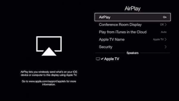 確定 AirPlay 設定為開的狀態