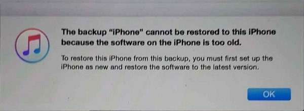 iOS 版本太舊而無法回復 iTunes 備份