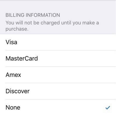 信用卡資訊選擇「無」