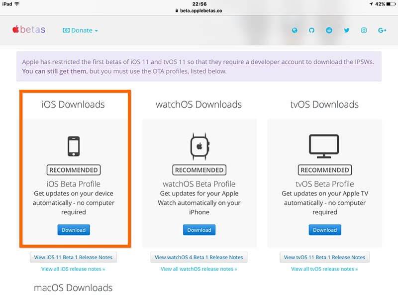 下載 iOS 11 Beta 描述檔