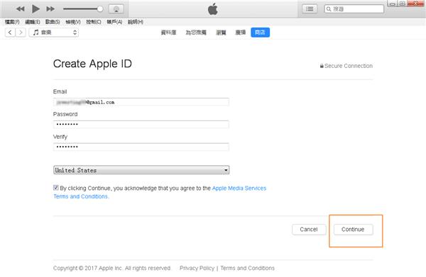 填寫 Apple ID 賬號和密碼
