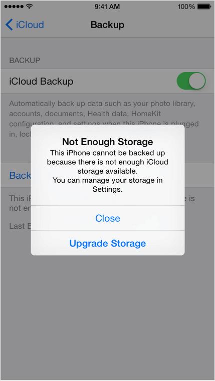 iCloud 空間不足
