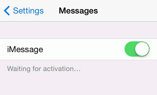 iMessage 正在等待啟用