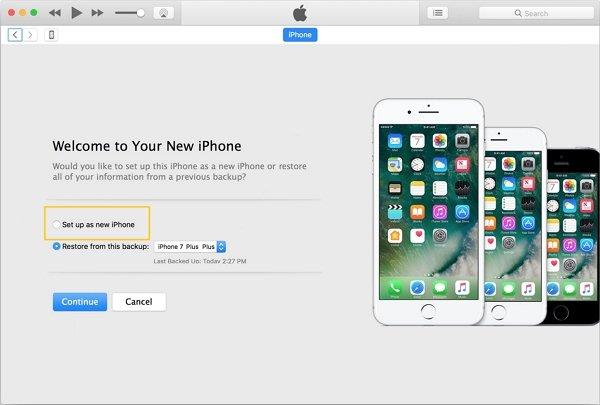 iTunes 設定為新的 iPhone