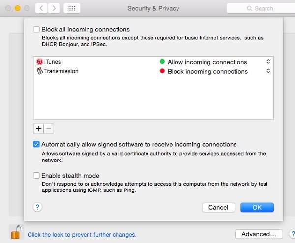 AirPlay 被 Mac 的防火牆封鎖
