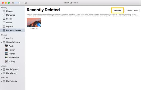 從「最近刪除」檔案夾還原誤刪圖片