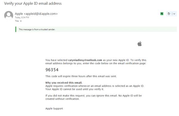 收到 Apple 的確認郵件